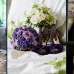 purple wedding flowers in vases and satin shoes