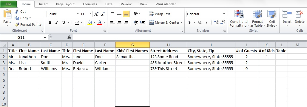 wedding guest list template excel