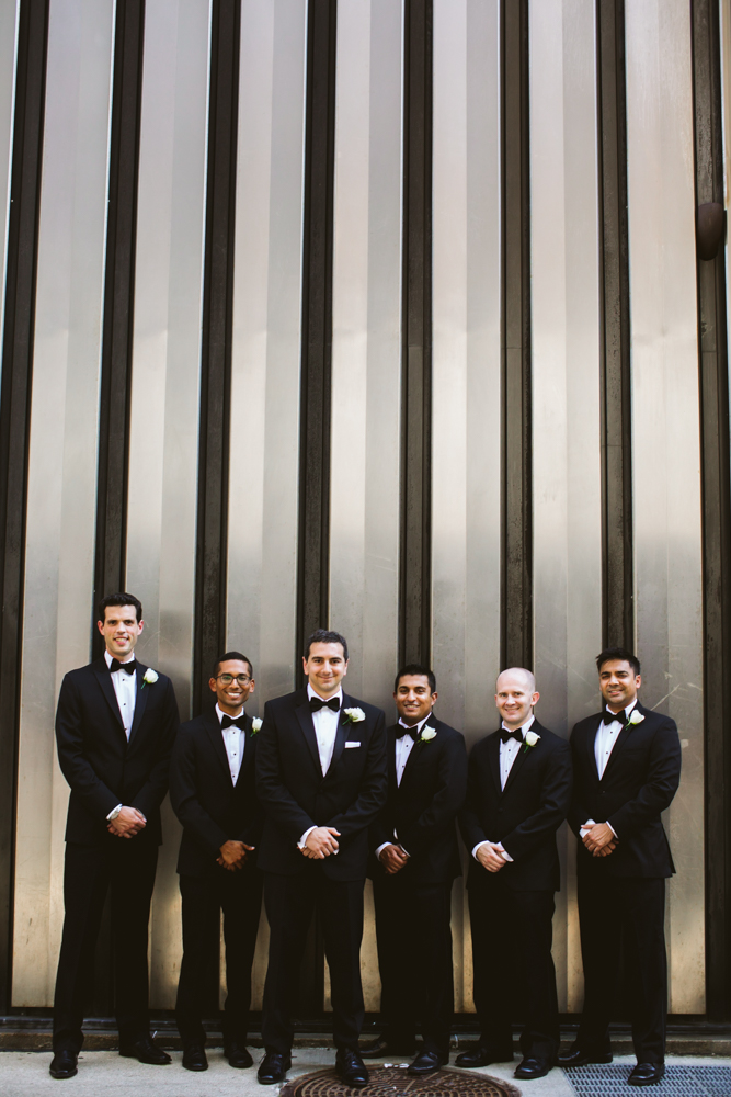 Groomsmen in the city