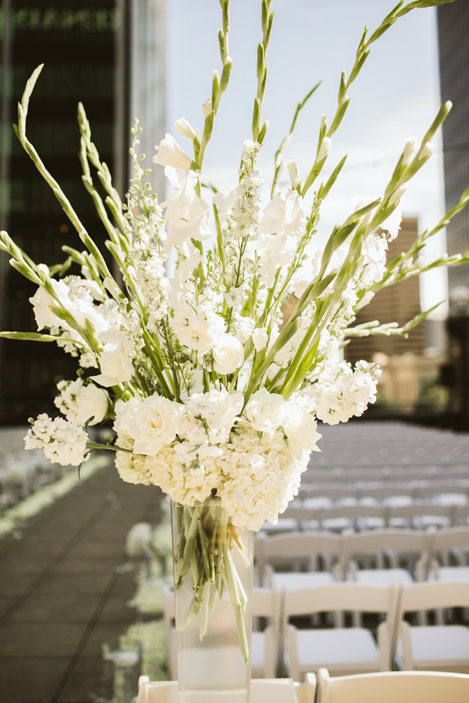 Outdoor ceremony floral arrangement