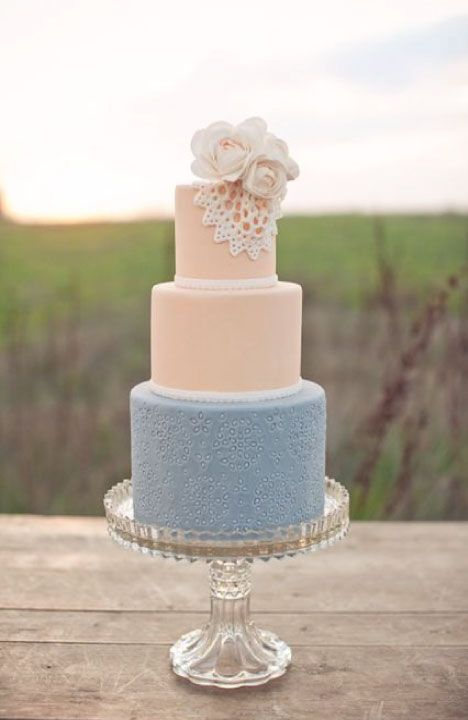 Blush And Dusty Blue Wedding Cake Str Events