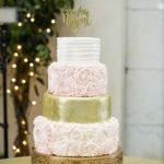 The Vault / Wedding Cake / Blush and Gold Cake / Gold Cake Topper / Blush, Sage and Gold Wedding