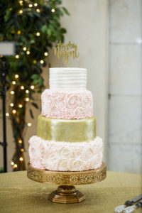 The Vault / Wedding Cake / Blush and Gold Cake / Gold Cake Topper / Blush, Sage and Gold Wedding