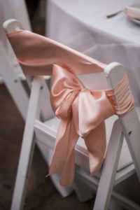The Vault / Blush and Sage Wedding / Chair Sashes