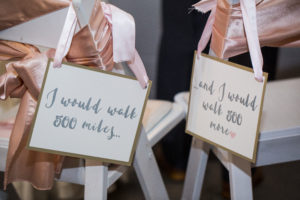 The Vault / Signage / Blush and Sage Wedding / Chair Sashes / Bride and Groom Chairs