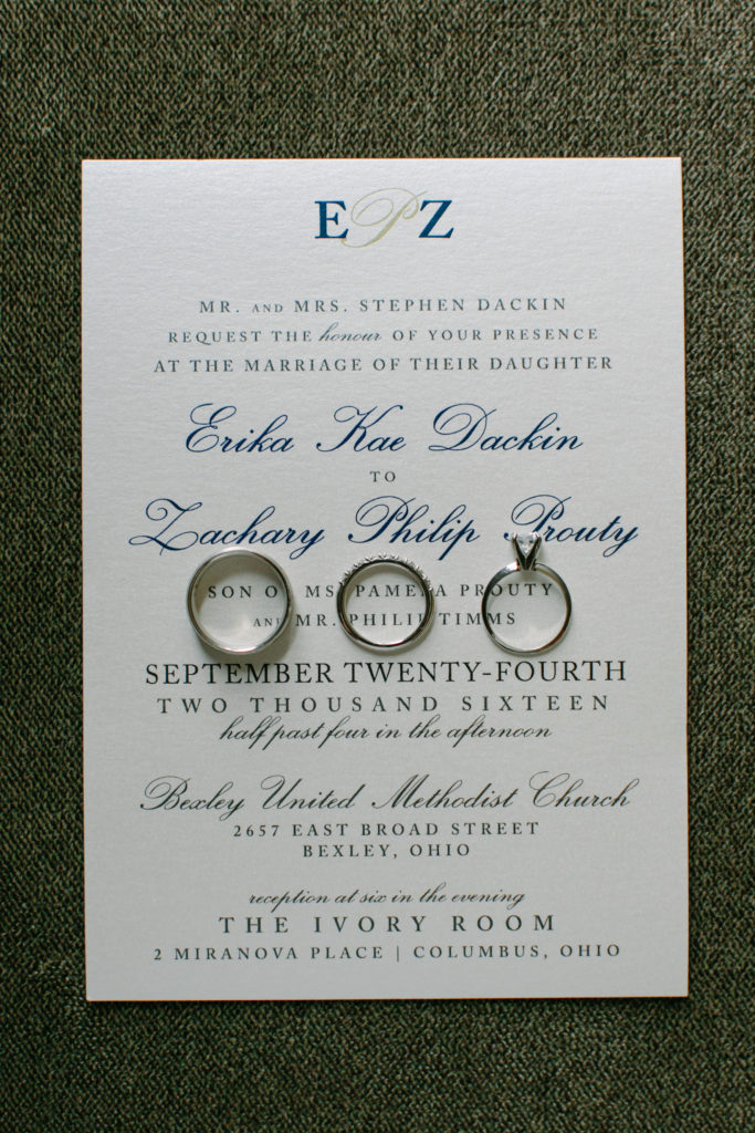 Ivory Room Wedding / Navy and Gold Wedding Invitation