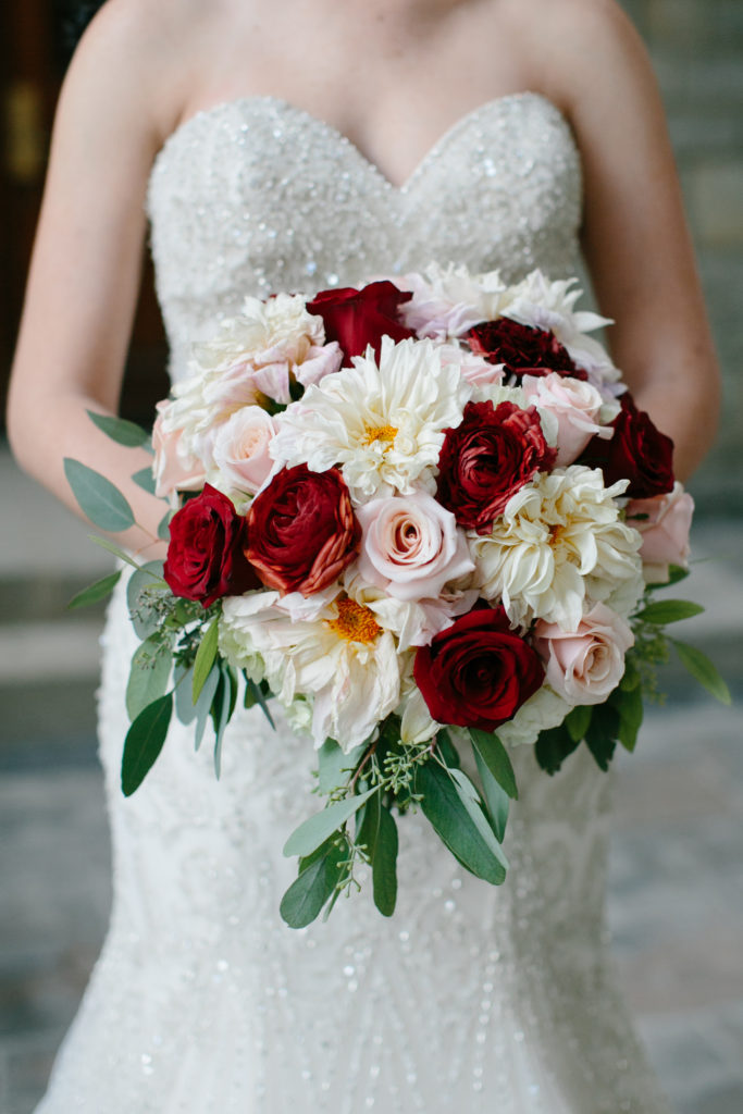 Ivory Room Wedding / Navy, Burgundy and Gold Wedding / Ivory, Blush, Deep Red Bouquet