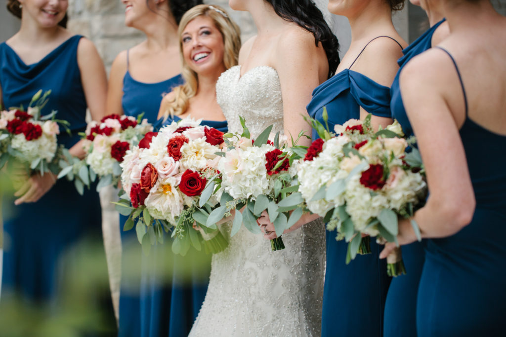 Ivory Room Wedding / Navy, Burgundy and Gold Wedding / Navy Bridesmaids
