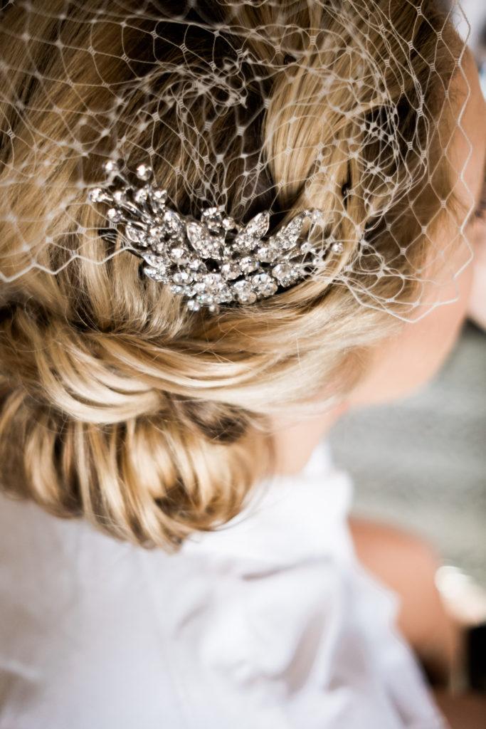 Silver Beaded Wedding Hair Piece