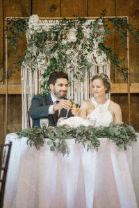 Sweetheart Table, Macrame Backdrop, Macrame and Greenery Backdrop, Greenery Garland, Wedding Toast, Bride and Groom