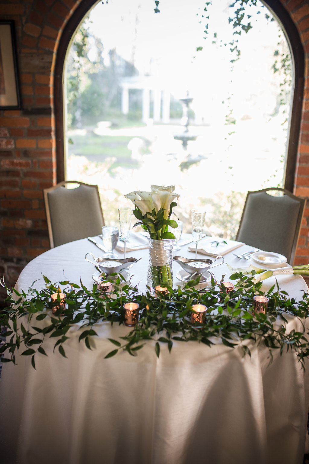 Kelton House Wedding Greenery Candlelight Sweetheart Table