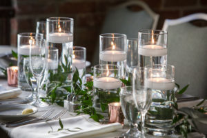 Wedding, Greenery, Candlelight, Rose Gold