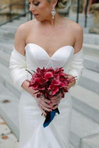 Bride, Bridal Bouquet, Navy and Burgundy Wedding