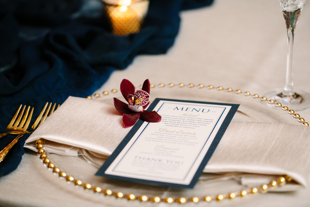 Place setting, Menu, Burgundy Orchid, Gold Bead Charger, The Athletic Club of Columbus