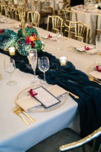 Hand Dyed Silk Runner, Details, Wedding, Athletic Club of Columbus