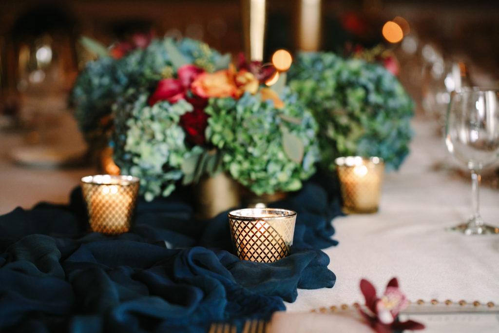Wedding Flowers, Hand Dyed Silk Runner, Wedding, Athletic Club of Columbus