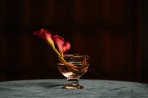 Wedding florals, velvet cab table