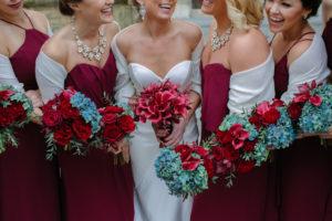 Bridal Party, Burgundy and Blue Wedding